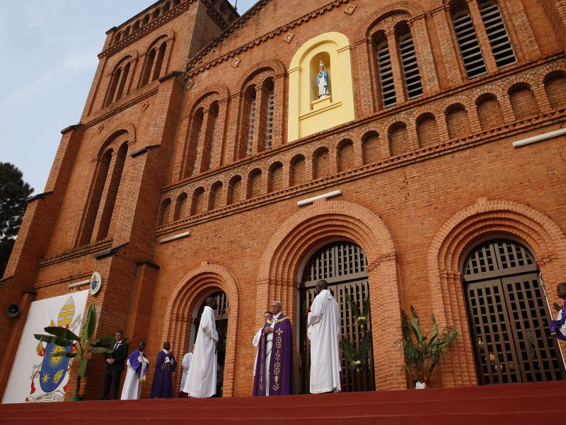 Pope Francis leads a ceremony to open the Holy Door as the begins the Holy Year of Mercy before a Mass with priests, religious, catechists and youths at the cathedral in Bangui, Central African Republic, Nov. 29. (CNS photo/Paul Haring) See POPE-BANGUI-MERCY Nov. 29, 2015.